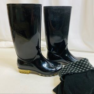 Coach Black Rain Boots with Removable Boot Socks